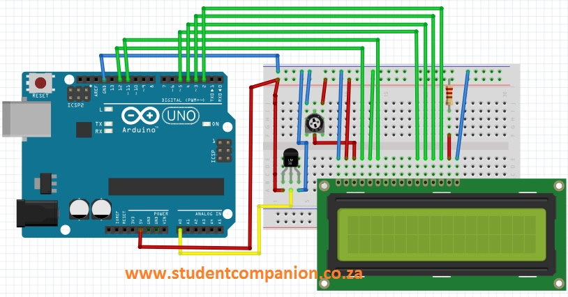 Arduino digital temp circuit student companion