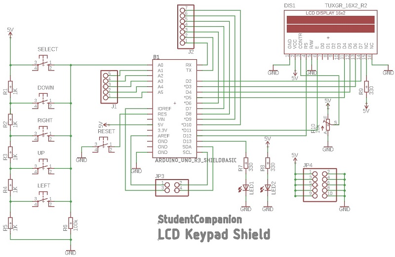 Arduino LCD Keypad Shield Eagle Schematic