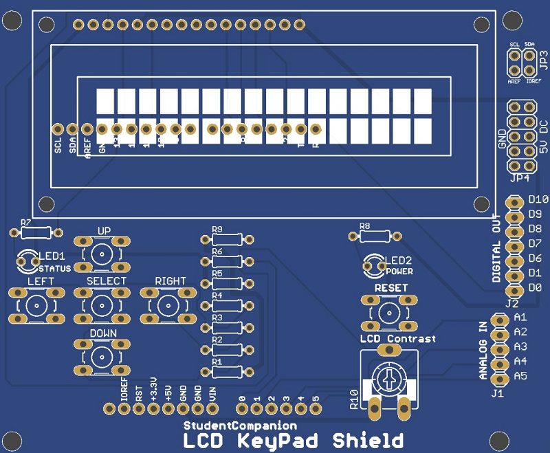 LCD Keypad Shield Eagle Top Layer