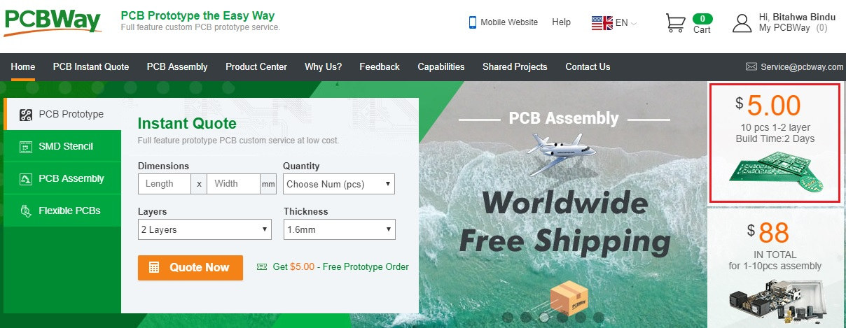 PCBWay Home page