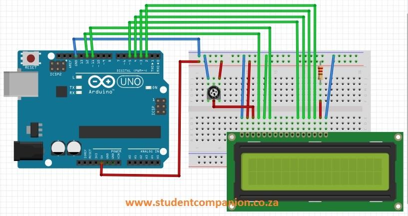écran LCD sur un Breadboard connecté à Arduino Uno